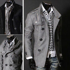 Autumn Men's Stylish Slim Double Breasted Trench Woolen Coat Jacket Button Parka