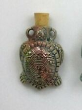 Raku Ceramic Pottery Bottle-Necklace, Turtle Design, Choice of Lot Size & Price