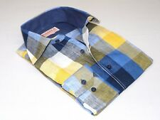 Men's INSERCH 100% Linen Plaid Square Print Summer Cool Long Sleeves 2407 Navy
