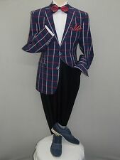 Men INSERCH Linen Cotton Blend Half lined Jacket Window pane Plaid 556 Navy Blu