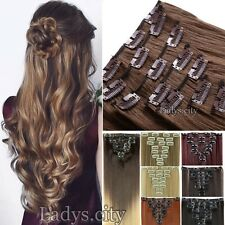 100% Natural Remy Clip in Hair Extensions 8 Pieces Full Head Black Brown Red Tws
