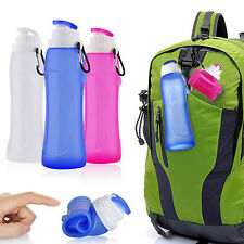 500ml Sports Juice Bottle Foldable Portable Travel Outdoor Water Cup Bluelans