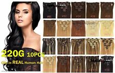 10pcs 220g Remy Hair Clip In 100%Real Human Hair Extensions 16''~26'' Full Head