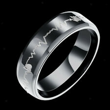 Stainless Steel Heartbeat Finger Ring Wedding Band Laser Forever Love