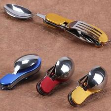 Pocket Camping Eating Utensil Set Folding Cutlery Hunting Mess Kit Fork Spoon LJ
