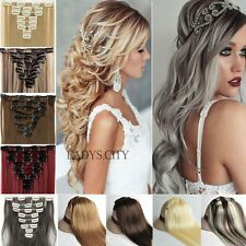 Deluxe Thick 8Pcs/Set Long Straight Curly Clip In Hair Extensions For Human Tkc