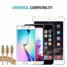 3 in 1 Type C micro braided USB cable Charging cord For Apple iphone samsung lg