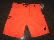 Hurley swimsuit boys youth board shorts swim trunks solid orange 4 5 6 7 10 16