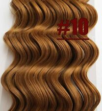 Golden Brown 16''~26'' Curly Wavy 100%Real Human Hair Extensions Deep Weft Hair