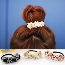 Women Pearl Hair Band Elastic Bead Flower Rope Scrunchie Ponytail Holder Fashion
