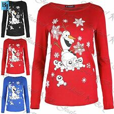 Womens Snowflake Xmas Frozen Fever Olaf Kids T Shirt Christmas Ladies Jersey Top