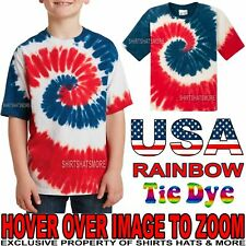 Youth Tie Dye USA Rainbow T-Shirt Tye Died XS, S, M, L, XL Boys Girls Kids Child