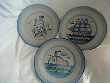 M. A. Hadley Luncheon Plates Pottery Blue House Whale Ship Made in USA