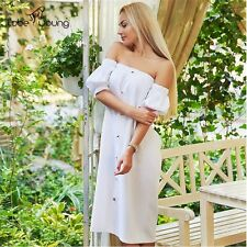 Sexy Womens Off Shoulder Puff Sleeve Loose Long Mid Calf Maxi Dress Casual Party