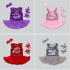 Baby Newborn Bodysuit Romper Outfit Tutu Dress Shoes Clothing Set Holiday Party