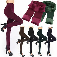 Women Thermal Thick Warm Fleece lined Fur Winter Tight Pencil Leggings Pants FM