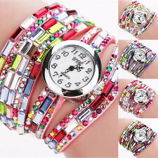 New Fashion Woman Multilayers Colorful Beads Crystal Quartz Bracelet Wrist Watch
