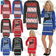 Womens Christmas Dress Jumper Ladies Aztec Reindeer Xmas Pullover Sweatshirt