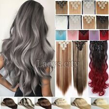 Real Thick Grey Full Head Long New Clip In Hair Extensions Real Human Hair T1v