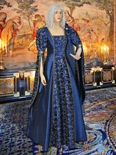 Medieval Renaissance Dress Fantasy Gown Handmade from Embroidered Taffeta