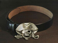 Black Leather Belt and Pirate Captain Skull Buckle