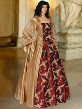 Renaissance or Medieval Style Dress Handmade from Embroidered Taffeta, 2 Colors