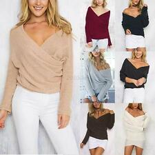 Sexy Womens Long Sleeve V Neck Sweater T-Shirt Pullover Loose Jumper Blouse Tops