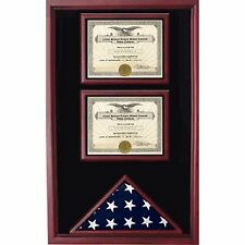 2 Certificates Flag Display case Hand Made By Veterans