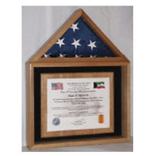 Certificate and American Flag Display Case Hand Made By Veterans