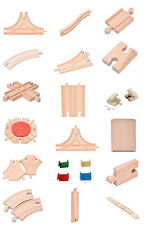 Lots of Wooden Train Brio Compatible Assorted Track Wood Pieces Kid Toys BBUS