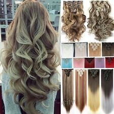 Premium Soft 8 Pcs Long Clip In Hair Extensions Straight/Curly/Wavy As Human To2