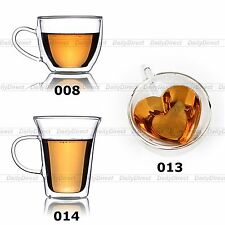 Kinds Heat Resistant Clear Double Walled Glass Tea Coffee Wine Cup Mug w/ Handle
