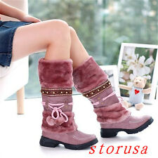 Women Lady Furry Knee High Boots Fashion Low Chunky Heel Winter Snow Boots New