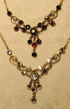 NeoVictorian Dangles Necklace Swarovski Crystal Antique Brass Steampunk; Colors