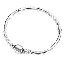 Women's Silver Plated Snake Chain With Barrel Clasp Bead Bangle Bracelet Ornate