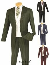 Men's Suit Single Breasted 2 Buttons 3 Piece Gangster Stripe Classic Fit V2RS-6