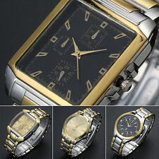 Men's Stainless Steel Band Golden Silver Tone Analog Quartz Wrist Watch Ornate