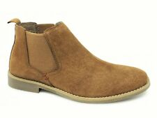 Front Afari Camel Tan, Mens Suede Leather Chelsea Boots, Slip On, Rubber Sole