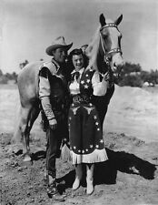 Roy Rogers posed with Girl and A Horse in Black and White High Quality Photo