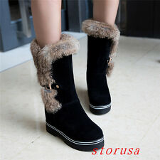 Women Mid Heel Fur Mid Calf Boots Shoes Fashion Snow Boots Faux Suede Size New