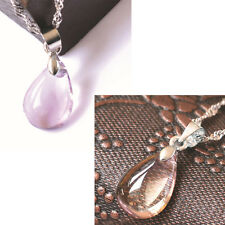18K White Gold Filled Classic Teardrop Natural Amethyst Crystal Pendant Jewelry