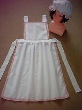 LADIES APRON & MOP CAP SET pink lace trim Victorian Edwardian Tudor fancy dress