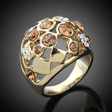 18K GP Gold-tone,Brown Crystal Hollow Oval Finger  Ring Size 6-8