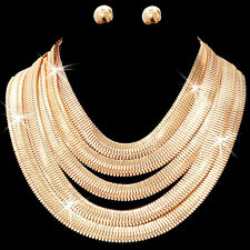 GOLD OR SILVER Diamond Cut Herringbone Link Chain Statement  Necklace Earrings