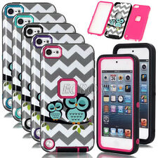 Glossy Owl Waves Pattern Shockproof Rugged Armor Combo Case For iPod Touch 5 6