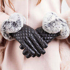 Womens Ladies Faux Leather Gloves Rabbit Fur Winter Warm Soft Mittens Fashion