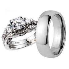 His and Hers Wedding Rings 3 pcs Engagement CZ Sterling Silver Tungsten Set DI
