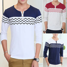 New Mens Fashion Long Sleeve T-shirt Tops Tee Button V-neck Casual Slim Fit EW