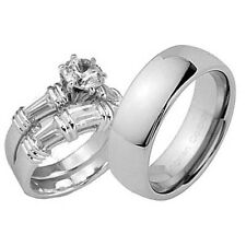 His and Hers Wedding Rings 3 pcs Engagement CZ Sterling Silver Tungsten Set DU