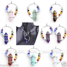 Natural 7 Chakra Gems Beads Hexagonal Copper Wire Pendant Healing Point Necklace